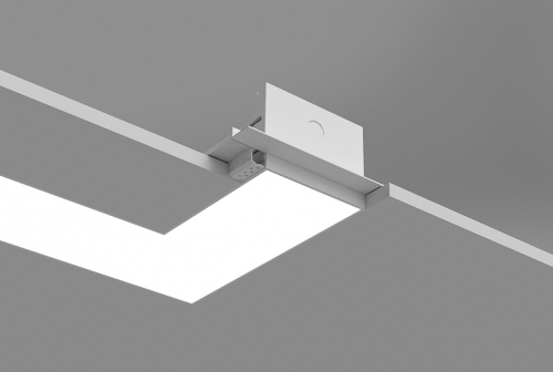 Microlinea Recessed Series 5 Horizontal 90 Degree Corner with Spackle Flange