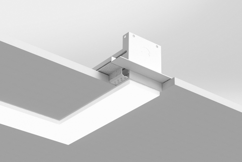 Microlinea Recessed Series 3 - Horiz. 90 Deg. Corner - Spackle Flange with .375 Accent Lens